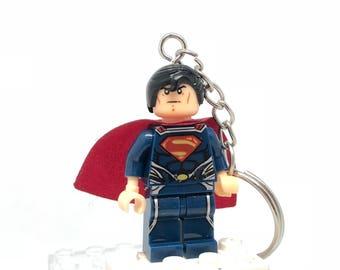 Super Man Superman  Minifig Keyring Fits Lego UK Seller UK Stock