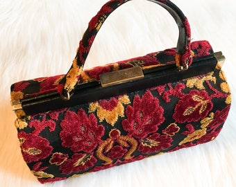 Vintage MEYERS  Tapestry Cut Velvet Handbag