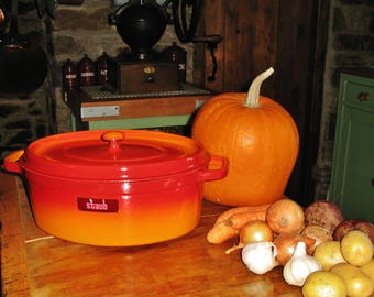 A Large Vintage French Staub 33 cm Oval Cast Iron Casserole / Dutch Oven / Orange / Red