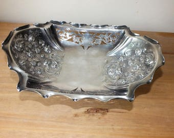 Vintage Nowill Ornate Sheffield Silver Plated Footed Fruit Bowl