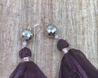 Eggplant sari silk tassel earrings with disco ball acrylic beads, holiday earrings