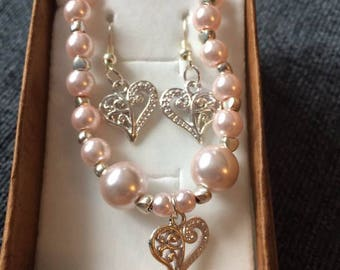 Heart Earings with matching bracelet