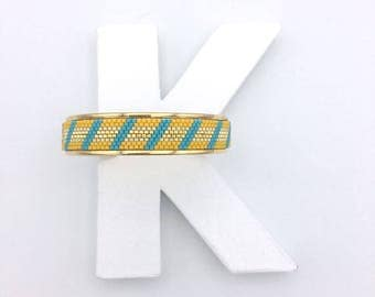 Yellow and blue Beach Bangle Bracelet-woven gold