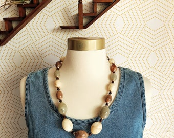 Vintage Ivory, Teal and Mauve Large Round Beaded Statement Necklace, Vintage Necklace, Statement Necklace, Beaded Necklace, Vintage Fashion