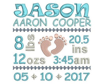 Baby Birth Announcement TEMPLATE Embroidery Design, Subway Art, Baby Birth Announcement Machine Embroidery Design, AM/PM, 3 Sizes FT509-41