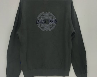 KENZO PARIS JEANS Big Logo Spell Out Made In japan gray medium sweatshirt jumper