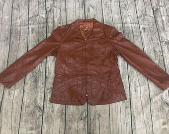 Vintage MARTINI GENUINE NAPPA leather jacket made in usa rodeo small brown coat