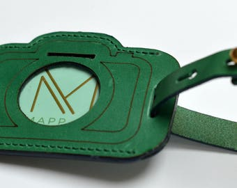 Leather luggage tag |  Luggage tag | Photography luggage tag | Gifts for Photographers | Leather accessories | Camera-shaped luggage tag