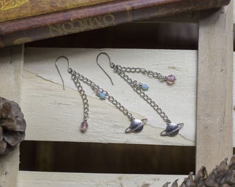 """cute pair of earrings """"planetufo"""" cosmic - ufo - rocket - planet - Galaxy - geek - rock"""