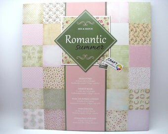 Romantic summer - design pad - 2x24 assorted designs - 24 sheets - 250g - acid free - doublesided printed