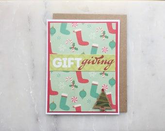 Handmade Christmas Card - Christmas Stocking Card, Christmas Tree Card, Holiday Card