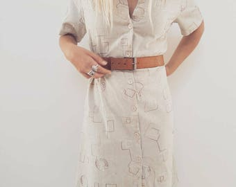 Handmade Vintage Dress // Boho Cotton and Embroidered Midi Length // Womens Size 10