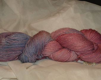 Sock wool, 4-fold, hand colouring, with glitter