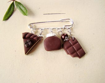 chocolate - brooch spread cake and chocolate polymer clay tablettre - pin gift Brown gourmet jewelry-mothers day