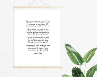 Stopping by Woods on a Snowy Evening by Robert Frost Poetry Print - Instant Download Poem Print - Poetry Digital Download