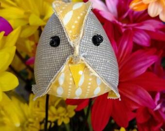 Fabric bird, Grey and yellow, fabric birds, cute stuffed bird, cloth birdie, stuffed animal, bird collection, bird, birdie, Gray, yellow