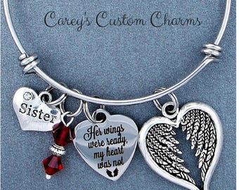 Sister ~ Her Wings Were Ready, My Heart Was Not Memorial Bangle Bracelet, Swarovski Birthstone, Memorial Sympathy Jewelry Gift For Sister