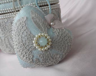 Heart hanging pink romantic silk blue Mint and beige vintage lace