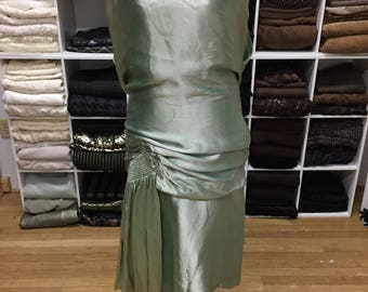 1920s Seafoam Evening Dress, MATCHING Satin Shoes, Vintage Evening Dress, Gold & Silver Trim Shoes, Saks Fifth Avenue, Authentic 1920s Dress