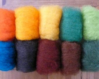 Needle Felting wool, felting wool, felting kit, Wet felting Wool,Dry Felting Wool,Bheda Wool,Felting Fleece,Carded wool set,Felting Wool 50g