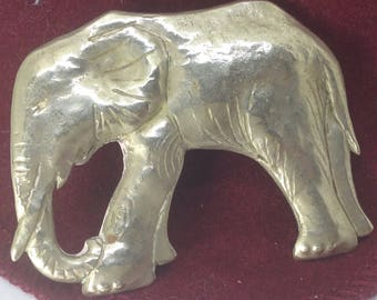 Darling Elephant Brooch Pin Silver plated Beaten Pewter? Delicate markings.