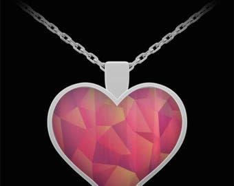 Silverand pink heart pendant