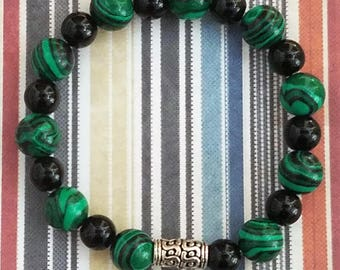 Handmade Green and Black Glass Beads on a Stretchy Bracelet