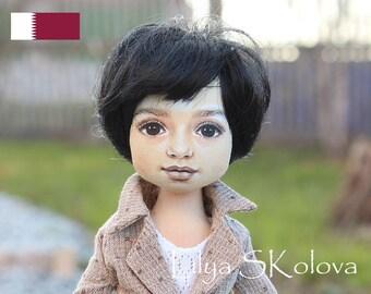 Qatar Textile doll boy textile doll interior doll fabric doll portrait doll cloth textile doll текстильная кукла selfie doll portrait doll