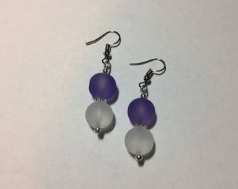 "Earrings ""in purple and white sea"""