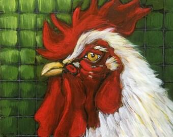 Original Art Tile - White rooster