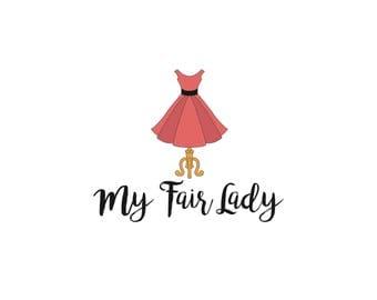 Dress Form Logo, Seamstress Logo, Couture Logo, Dress Shop Logo, Mannequin Dress Logo, Sewing Tailor Logo, Mobile Boutique Logo