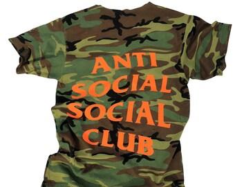 Anti social social club tshirt distressed camo tshirt