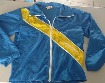 Vintage 80s blue and yellow windbreaker large