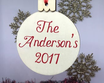 Personalized Wooden Christmas Tree Ornament, Family Ornament, Personalized Family Ornament, Personalized Ornament, Christmas Tree Ornament
