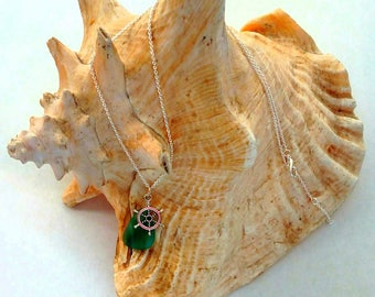 Seaglass Shipwheel Charm Necklace