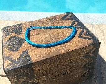 Dark Turquoise Basic Stackable Bracelet, Wax String Bracelet, Friendship Bracelet, Waterproof Bracelet