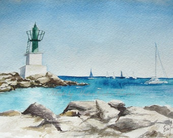 Original watercolour, Mediterranean sea, lighthouse, seascape, nautical theme, sea coast, Spain, summer landscape, watercolor landscape