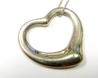 Lovely Sterling Silver Tiffany & Co. Heart Pendant with Chain