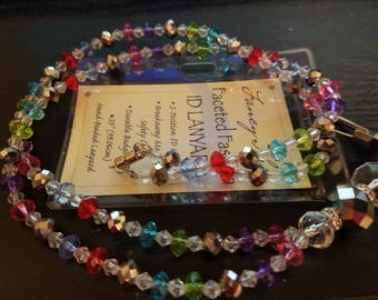 """Hand Made Beaded Lanyard And Badge Holder 24"""" Long With Badge Holder"""