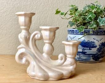 Vintage Iridescent Ceramic Cream Candelabra