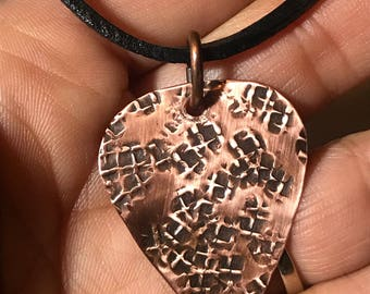 Handmade Copper Guitar Pick Necklace