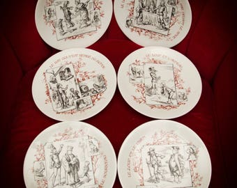 Set of 6 French Fairytale Plates by Porcelaines Champs Elysees Paris Storybook