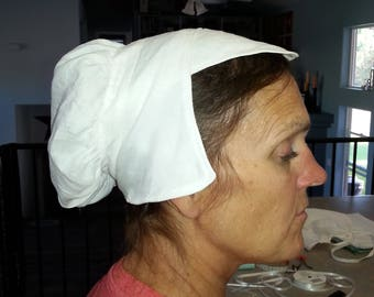 Complete your Elizabethan with this hand-stitched Coif and shaped Forehead Cloth