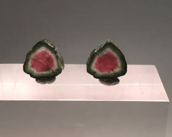 Watermelon Tourmaline Slice Pair