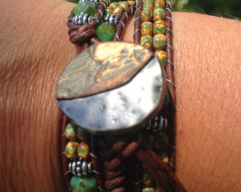 Yellow, Green and Silver Leather Beaded Wrap Bracelet