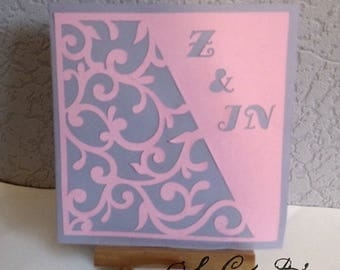 """INVITATIONS / announcements wedding - set of 10 - """"arabesques and initials"""" - fully customizable, color choice"""