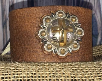 Genuine Leather Silver and Gold Cross Wrist Cuff