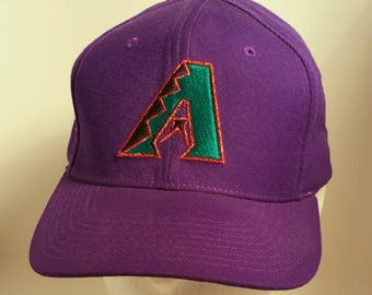 RARE 90s Purple AZ Arizona Diamondbacks Snapback Baseball Cap Official MLB Major League Team New Era Hat Southwest Teal Snake Rattlers Pro