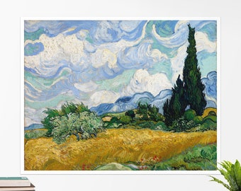 """Vincent Van Gogh, """"Wheat Field with Cypresses"""". Art poster, art print, rolled canvas, art canvas, wall art, wall decor"""