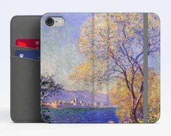 "Claude Monet, ""Antibes Seen from..."". iPhone 8 Wallet case, iPhone 7 Wallet case  iPhone 6 Plus Wallet case. Samsung Wallet cases."